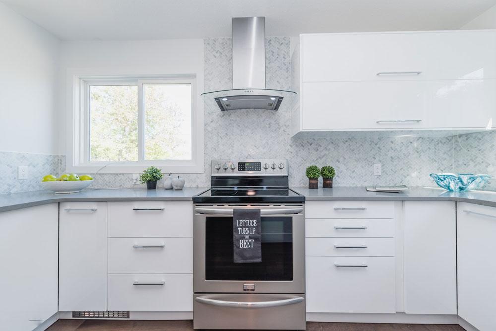 Bianco Carrara Herringbone Installed As A Kitchen