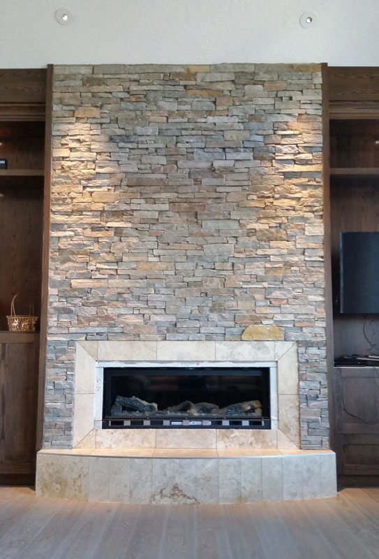 Bear Mountain Ledgestone installed on a fireplace