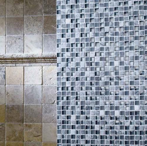 blue mosaic wall bathroom