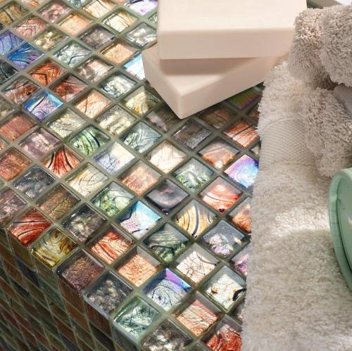 Multi coloured glass mosaic