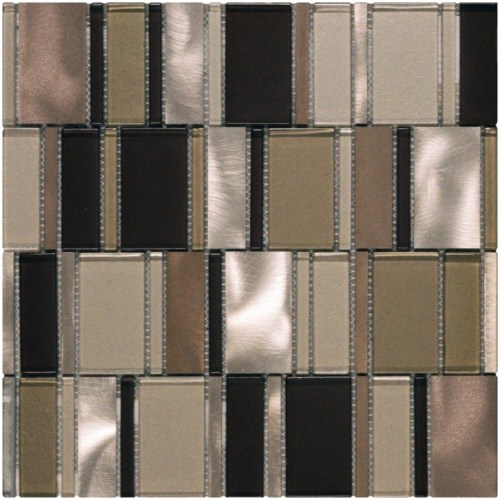 Silver metal and brown glass