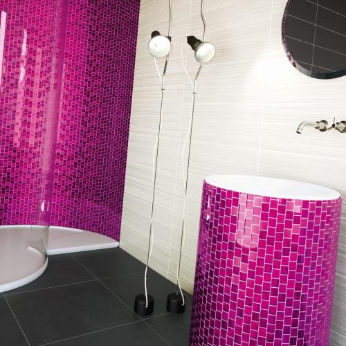 pink glass mosaic bathroom