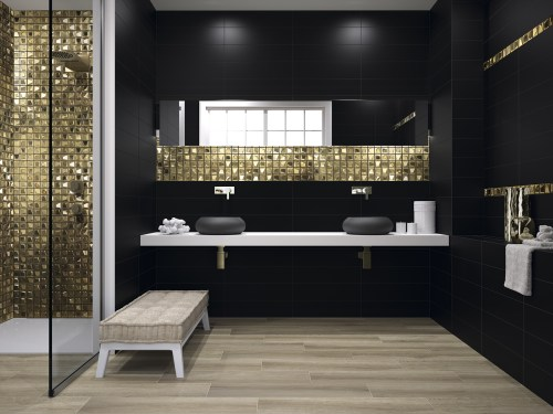 Glass gold square tiles