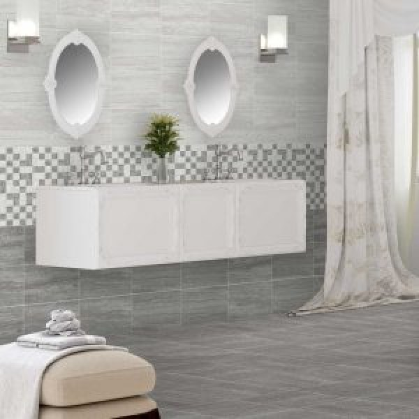 Silverstone Grey Gloss Kitchen Wall And Bathroom Tile 33cmx55cm