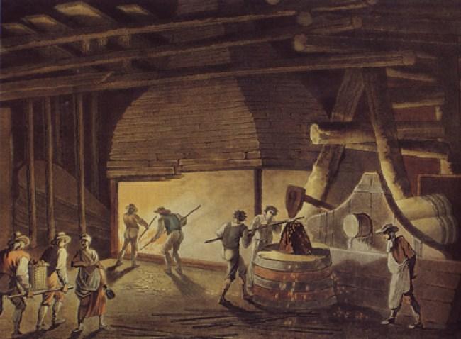Stangjernshammer. Maleri av C.A.Lorentzen fra 1792.