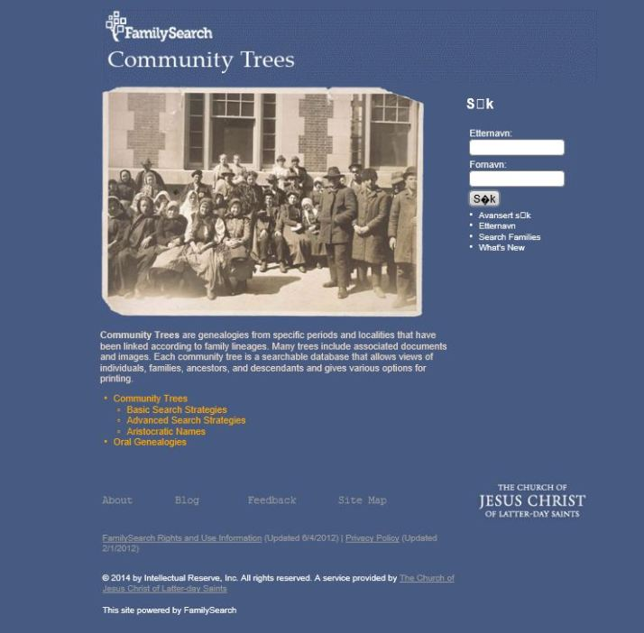 "FamilySearch Community Trees"" - SØKESIDE"
