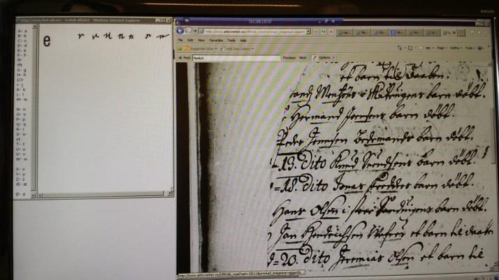På venstre side ar hustigprogrammet for gotiske bokstaver. På høyre side er kirkeboken jeg leter i.