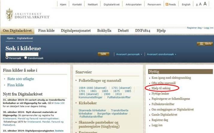 Digitalarkivet forside - hjelp til søking