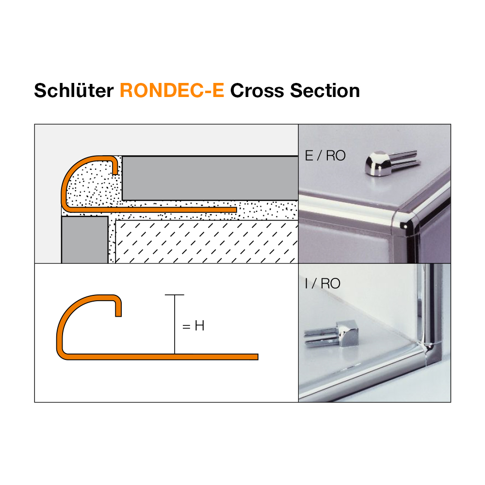 schluter rondec e stainless steel tile trim