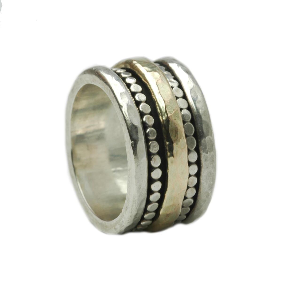 Breiter massiver Ring 925er Silber and 375 Gold shr0618bTiljon