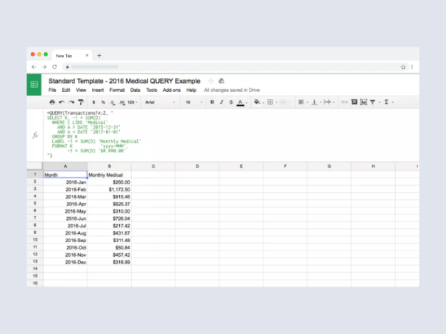Using Google Sheets QUERY to Visualize Your Spending