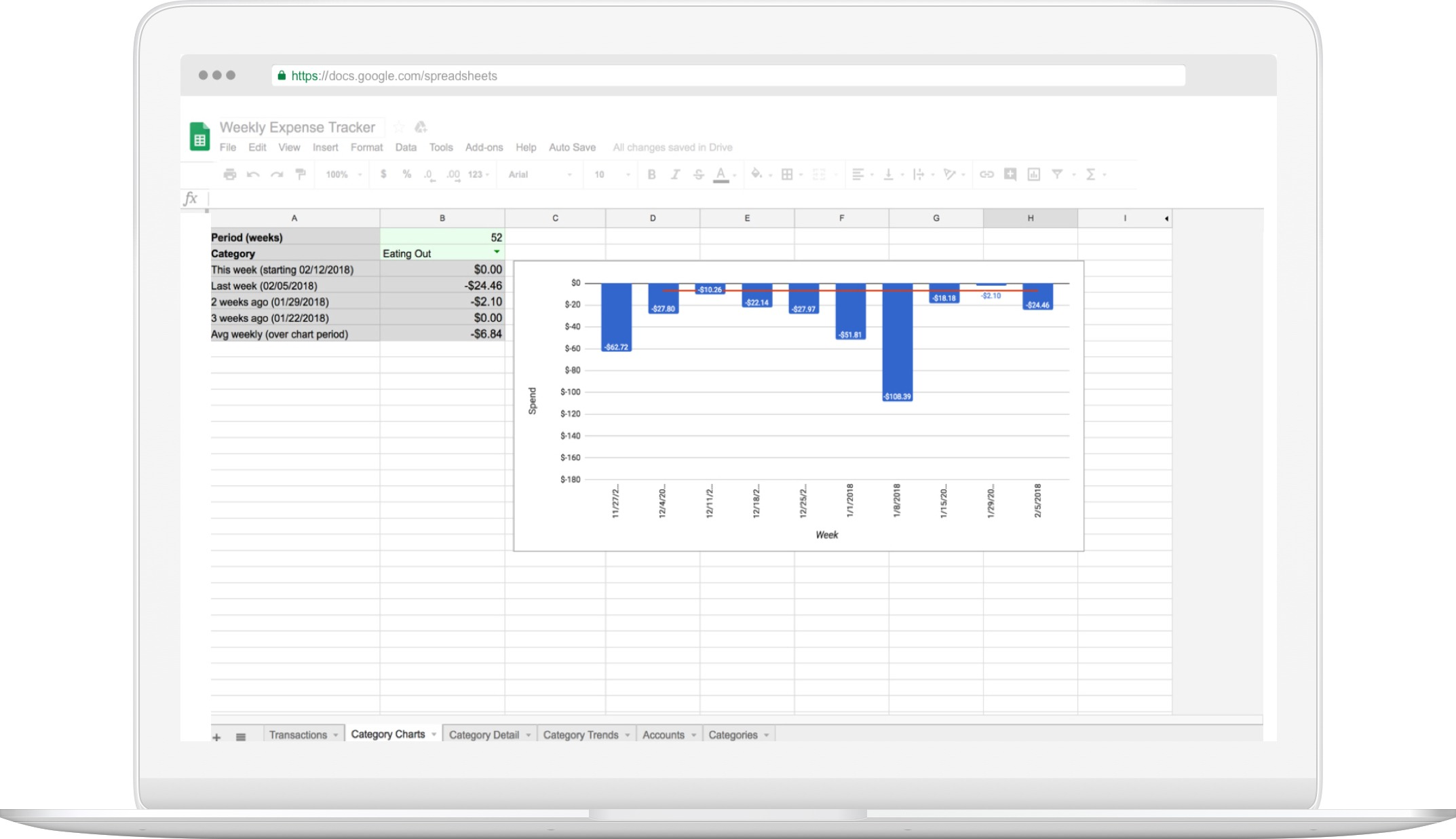 tiller weekly expense tracker for google sheets