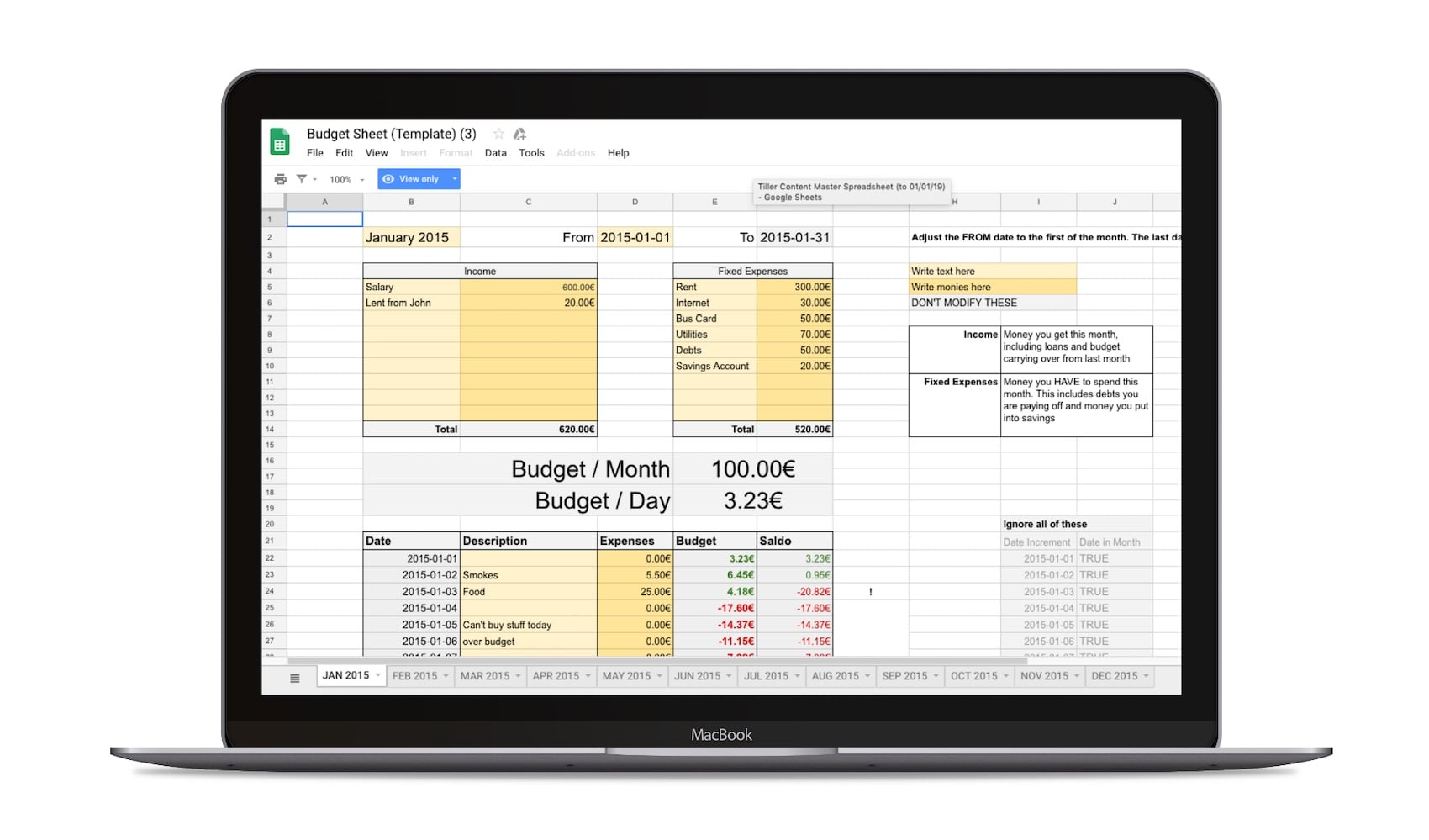 photograph about Month at a Glance Budget called The 15 Excellent Cost-free Google Sheets Spending plan Templates