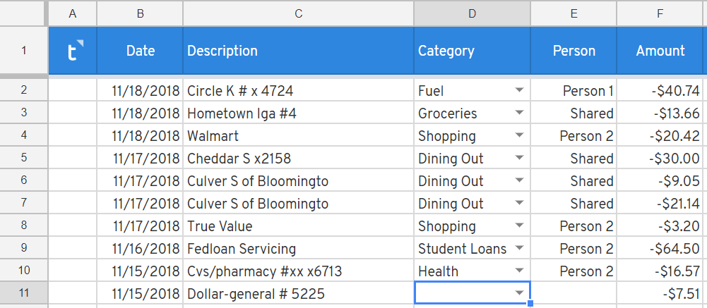 Tag shared expenses in a Google Spreadsheet
