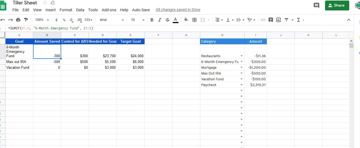 Create Savings Goals Data Sheet Financial Goals