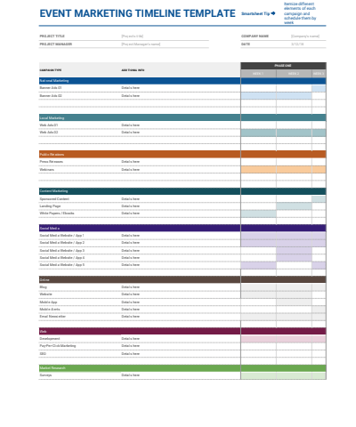 Event Marketing Timeline Google Sheets