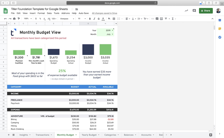 Monthly Budget Tiller Foundation Template for Google Sheets