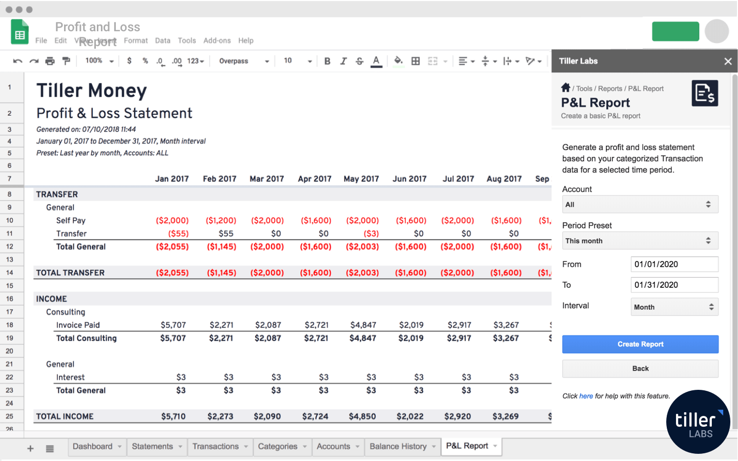 Profit and Loss Report Template for Google Sheets