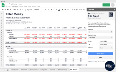 Profit and Loss Report Google Sheets Tiller Labs