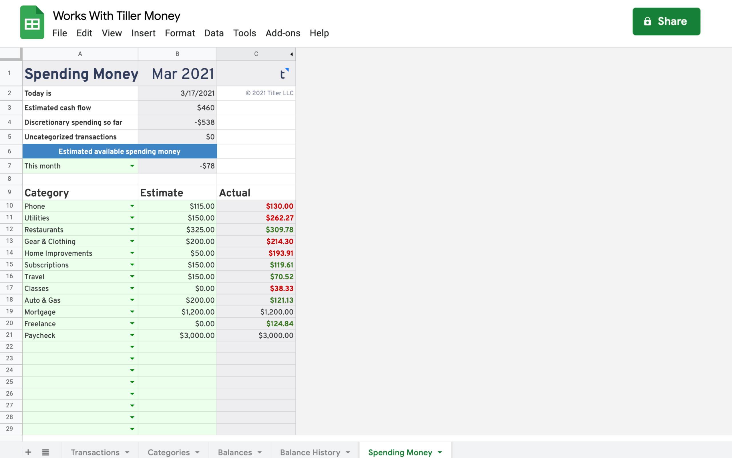 spending money spreadsheet works with tiller money