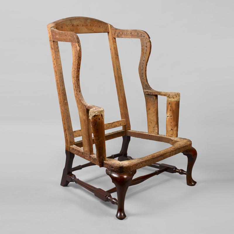 queen anne wing chair maroon desk balloon seat jeffrey tillou antiques