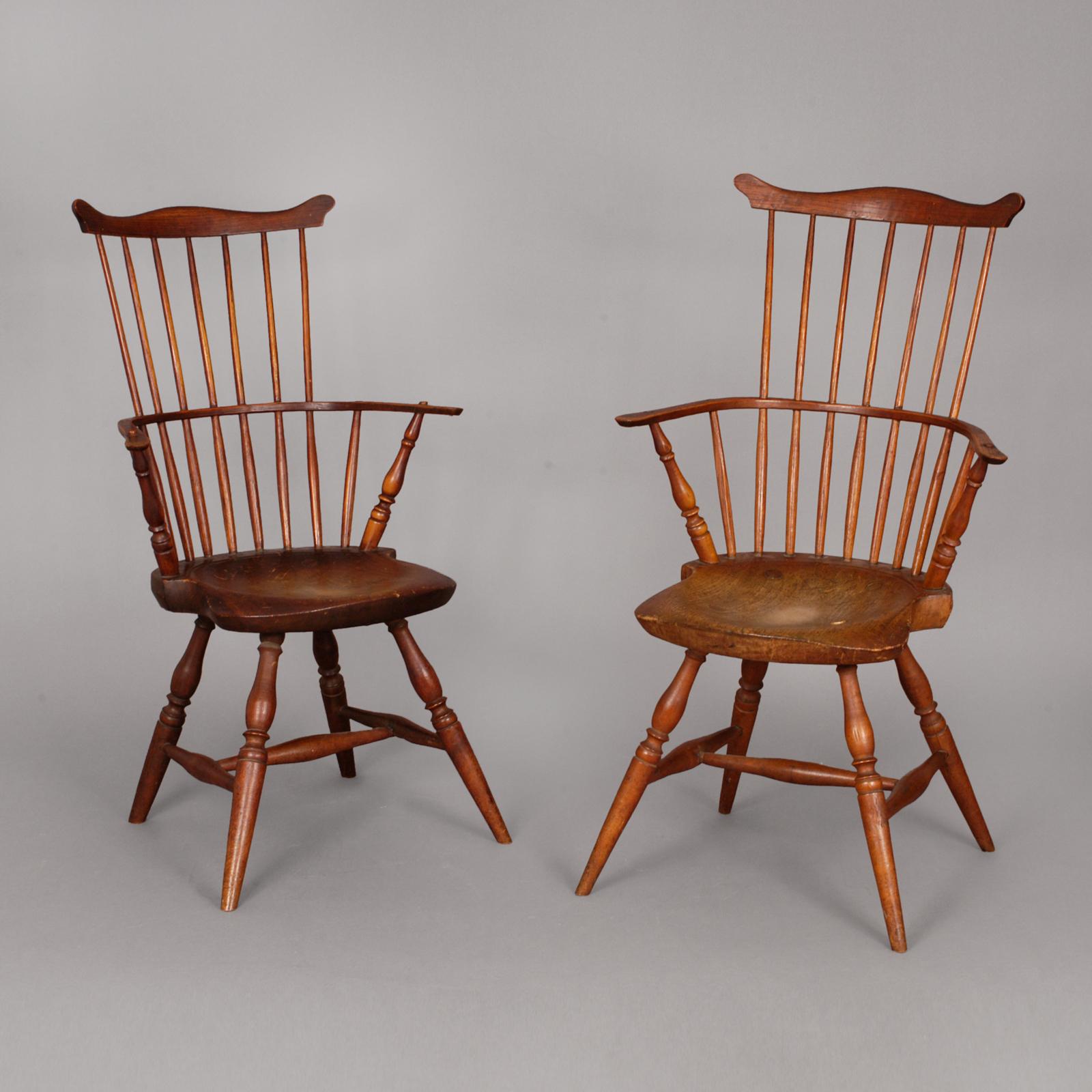 Pair of Windsor Arm Chairs  Jeffrey Tillou Antiques