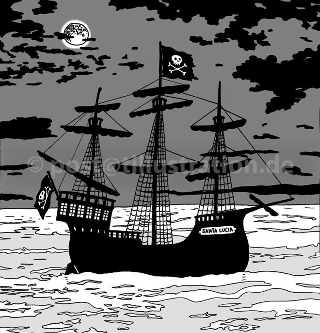 Piratenschiff im Mondschein