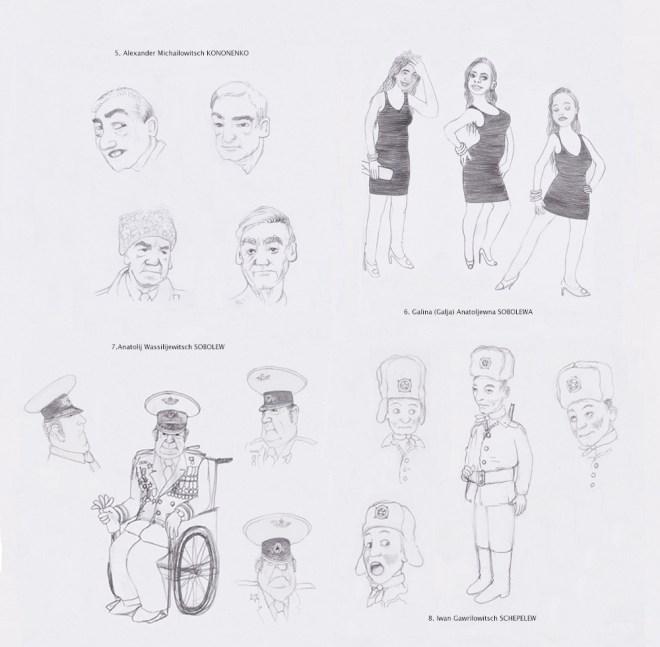 Dies sind die Skizzenentwürfe des Charakterdesigns Des Graphic Novels 'Die 25.ste Stunde'