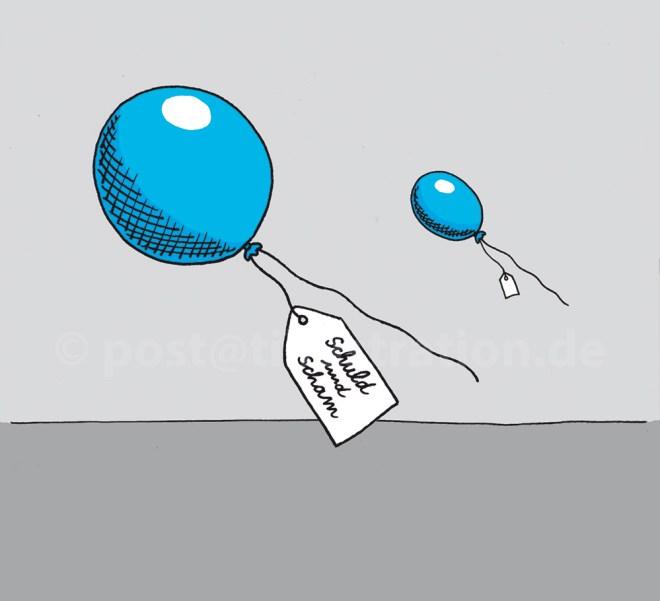 """Zwei Luftballons fliegen am Himmel. Auf einem angehängten Zettel befindet sich der Schriftzug """"Schuld und Scham"""""""