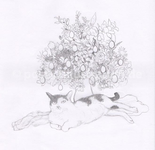 Hier ist der Bleistiftskizzen-Entwurf der Osterkarte mit Kater Jethro vor dem Osterblumenstrauss zu sehen.