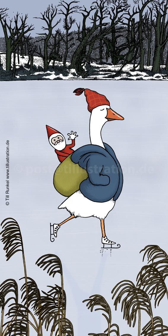 Weihnachtsgans fährt Schlittschuh