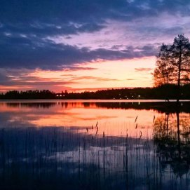 Midsummer night by the lake in Keuruu, Finland