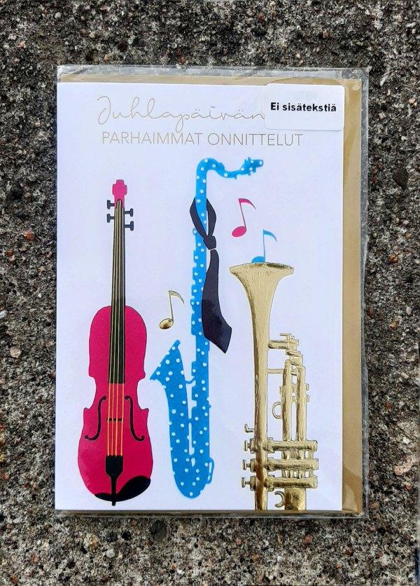 Kaksiosainen onnittelukortti, jossa kannessa kontrabasso, saksofoni ja trumpetti