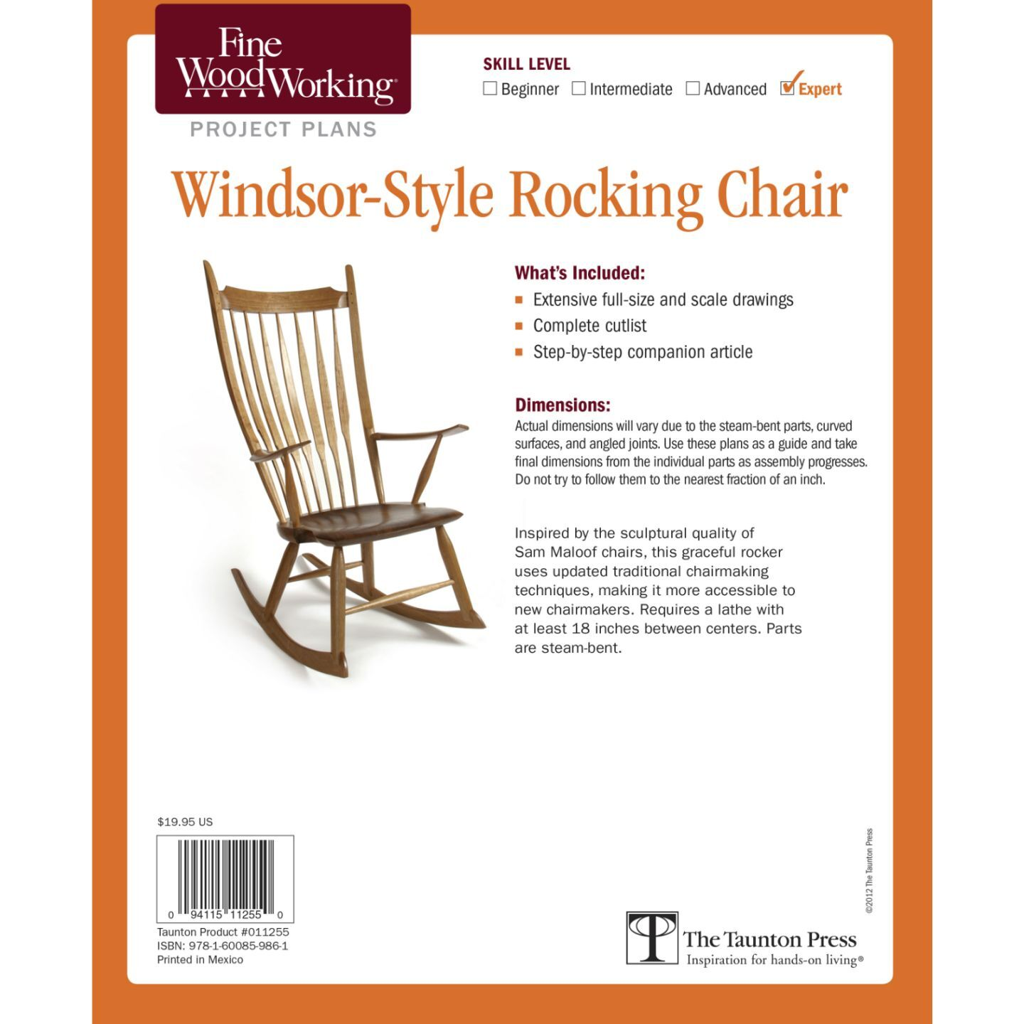 rocking chair fine woodworking folding office depot windsor style plan taunton press