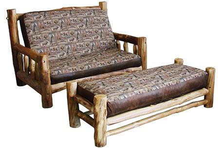 Rustic Aspen Log Futon