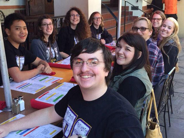 All-state choir students share a smile and a meal in San Antonio. (Photo courtesy of Adam Thomas.)