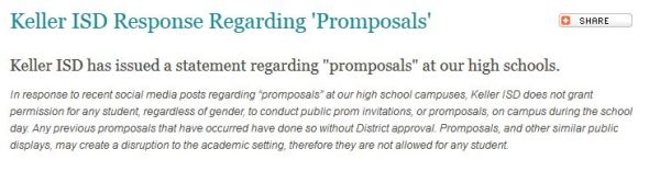 Screen capture of the KISD announcement on promposals.