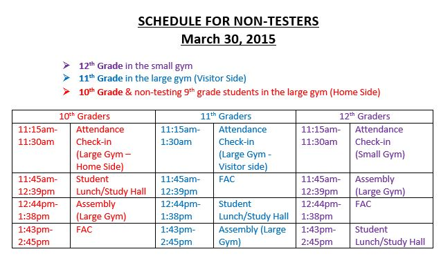 schedule non testers march 30