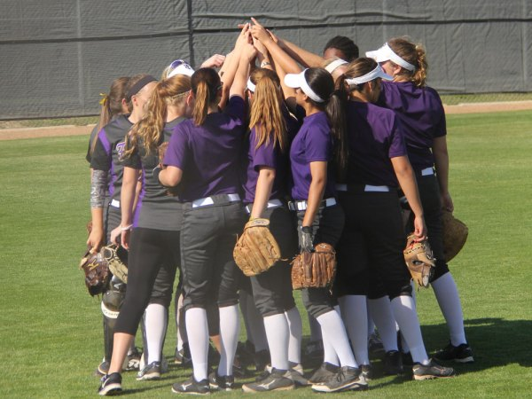 TCHS varsity softball before playing Denton Ryan. Photo by Talon Photographer, Hannah Dykes.