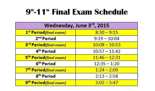 june 3 bell schedule