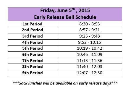 june 5 bell schedule
