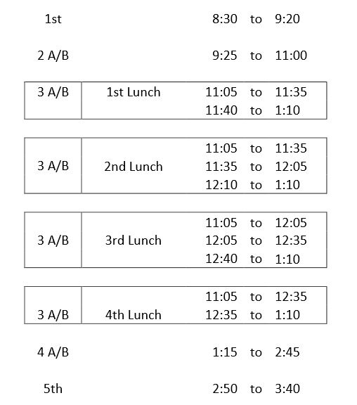 hs block schedule 2015-16