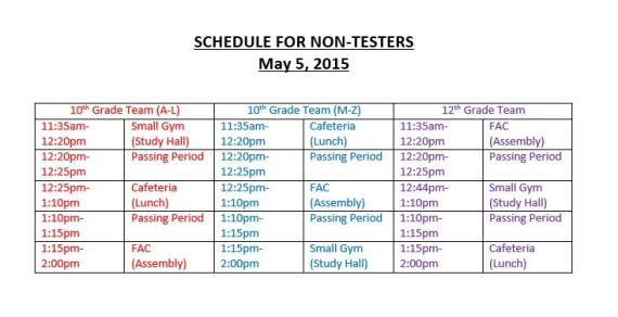 schedule non testers may 5