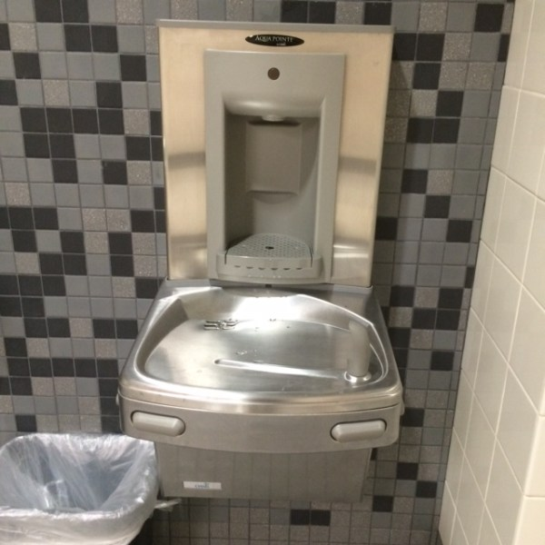 One of the installed water bottle filling stations in TCHS C Hallway.