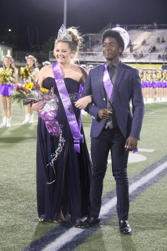 2015 TCHS Homecoming Queen Kaleigh Johnson and King Daniel Nkoola were crowned during the Sept. 11, 2015 Homecoming game. (Photo by The Creek Yearbook photographer Sabrina Trejo.)