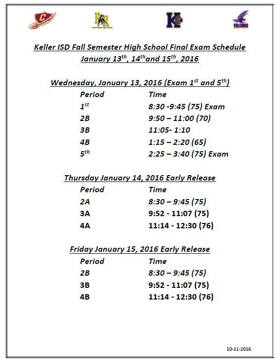 keller isd final jan 2016 exam schedule