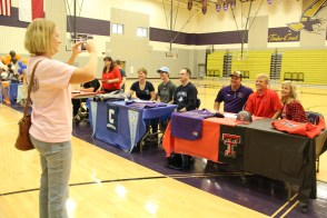 TCHS Athletes sign letters of intent to play at various colleges during a Nov. 11, 2015 signing ceremony.