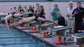 Photo of the TCHS Swim and Dive team during their Nov. 3, 2015 meet. (Photo by The Creek Yearbook photographer Alec Deker.)