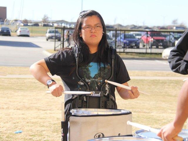 TCHS Drumline members practice outside on Feb. 11, 2016. (Photo by Grace Nakajima.)
