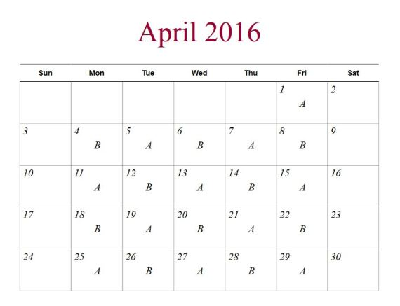 april 2016 a b
